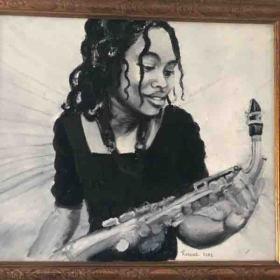 Painting by my mom of me in high school