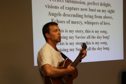 """Leading worship for the Soul Fitness Ministry students.  'This is my story, this is my song."""""""
