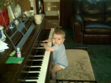 My baby's first piano lesson!
