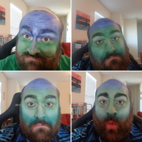 Progression of my Vodnik makeup for virtual performance of Rusalka!