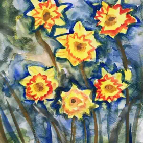 Watercolor painting sample by an adult student at the uptown studio.