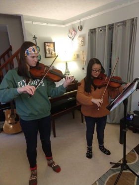 Two of our teen violinists rehearse Bach's Double Violin Concerto together.