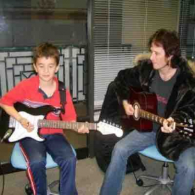My guitar student in Palos Verdes California (we both look like we're ready to fall asleep what's going on here??)