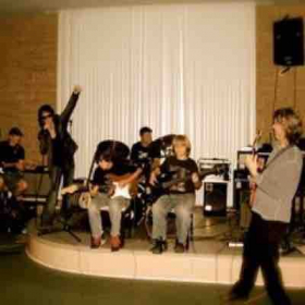 Rocking out with our rock band 101 class Palos Verdes California circa 2006