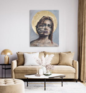 This Is Sanity (in situ) Oil and Gold leaf on canvas 36in by 46in