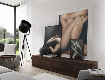 Lower Left: She is Without (print) | Center Back: Elysian (large print) | Lower Right: Figure Study