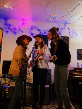 Playing some tunes at home with some friends in our jam space!