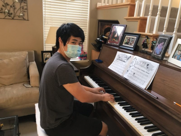 East Bay Freshman student enjoying an in-home lesson after school.