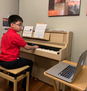 """Precocious 5th grade piano and Math student learning """"Believer"""""""