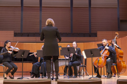 """Conducting a performance of my piece """"Time Carvers"""" (see website)"""