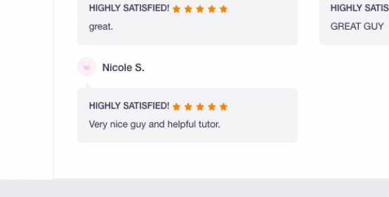CS tutoring testimonial from one of my students.