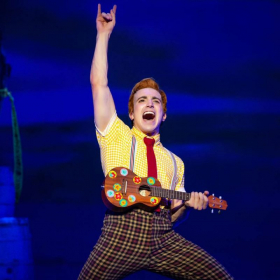 former student Lorenzo Pugliese as SpongeBob in the first national Broadway tour of of SpongeBob SquarePants: The Musical