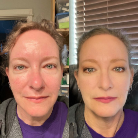 Andrea Before & After our Makeup Lesson. Her lovely review was posted July 28,2021