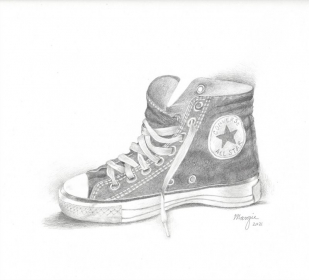 Pencil drawing of a shoe  - lesson example