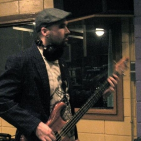 at Berklee studios recording bass for a friends album