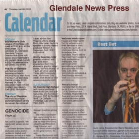 Featured  photo in the GLENDALE NEWS PRESS newspaper.