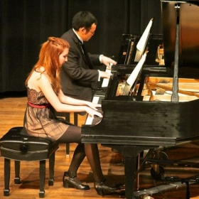 Performing with one of my colleagues at Cal State San Bernardino for Piano Society's quarterly benefit recital.