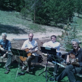 My guitar quartet playing pre-ceremony music at a wedding