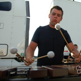 Glassmen Drum and Bugle Corps Front Ensemble, August 2011.