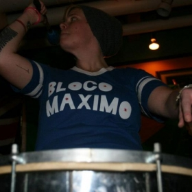 Caitlin in action during a set with Chicago's Bloco Maximo!