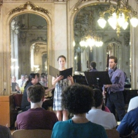 Performing a Lied with fellow musicians at a recital held in Vienna, Austria.