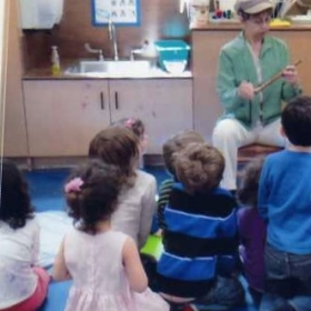 Demonstration of flutes and recorders to pre-school children.