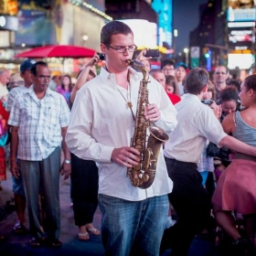 This photo was taken at a an outdoor gig I played in Times Square as a part of a flash-mob swing dance complete with swing dancers!