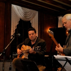 Playing guitar duets at the Strathmore Mansion in Rockville with Bob Israel