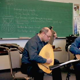 """Performing a work shop with Guitarist Foti Lycouridas, we call 'Guitarology""""  The Barouque lute and the Guitar Lute Theorbo."""