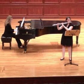 A photo of me during my Junior Recital performance at Mayo Concert Hall.
