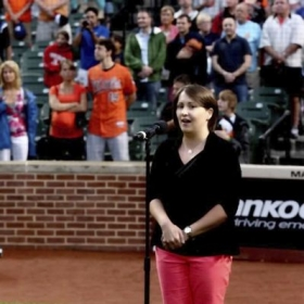 Singing the National Anthem at an O's game. Let's GO O's!!!!