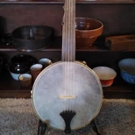 Replica circa 1855 Boucher banjo used for Minstrel banjo style lessons.