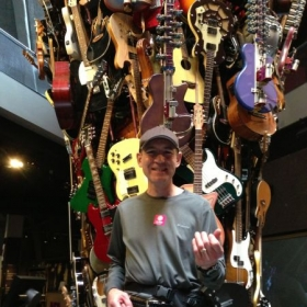 Michael having fun at the EMP museum in Seattle, Washington - totally awesome place!
