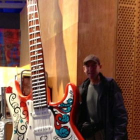 Michael having more fun at the EMP museum - totally awesome place for a guitar fan!