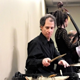 Glenn M. drumming with The BK DAVIS Quartet for Steinway Pianos.