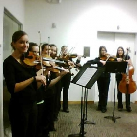 Dr. Lavengood's string studio at George Fox University
