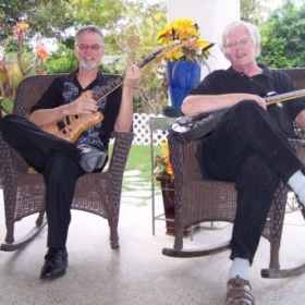 With my musical partner, Jim DeNoon (guitarist) for past 16 years