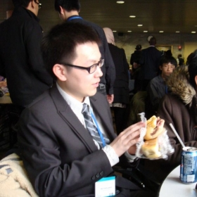 Eating lunch at city college during model UN conference.