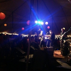 Playing at Shakori Hills Grassroots Festival with my band, Virgins Family Band.