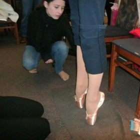 At the shoe store fitting my beginner pointe students for their first pair of pointe shoes.