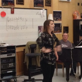Giving a vocal master class, Jan. 2014 at Acalanes High School