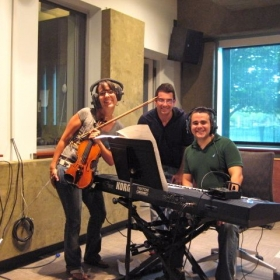 Nicolas and friends take a photo after a successful recording session!