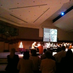 playing with the music team on the Hammond B3 for Christmas service in Tempe, Arizona