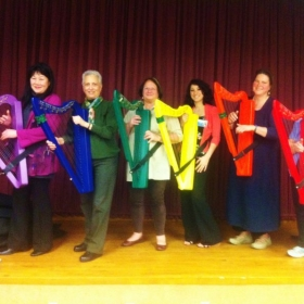 Rainbow Harps--I have the yellow harp. The International Harp Therapy Program taught the elderly how to play harp