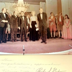 """1776""  Mary B Phillips, Williams Daniels, Howard DeSilva, Stephen Schwartz and Broadway Cast at Whitehouse"
