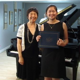 Sharon & X. L. at MTAC South Coast Branch Senior Recital 2014. Sharon qualified as National Merit of Scholar Finalist 2014.