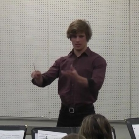 Conducting the concert band.