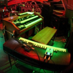My Hammond A100 Organ and Wurlitzer 200A Electric Piano at The Whistle Bar in San Diego, CA.