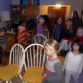 CHRISTMAS PARTY 2013 (Students playing musical chairs.)