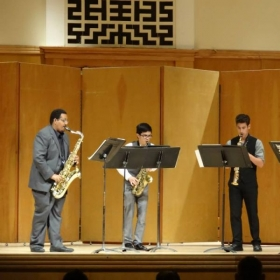 "Performing ""July"" in his SJSU saxophone quartet's final concert of the year."